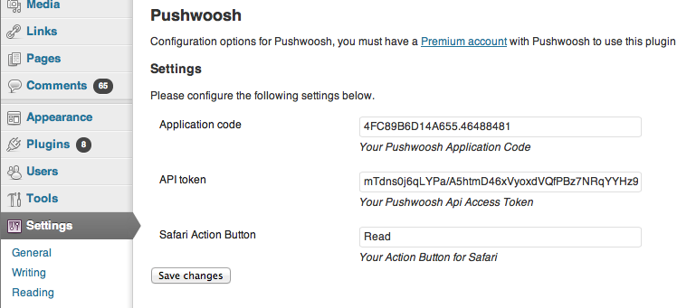 Pushwoosh WordPress plugin settings