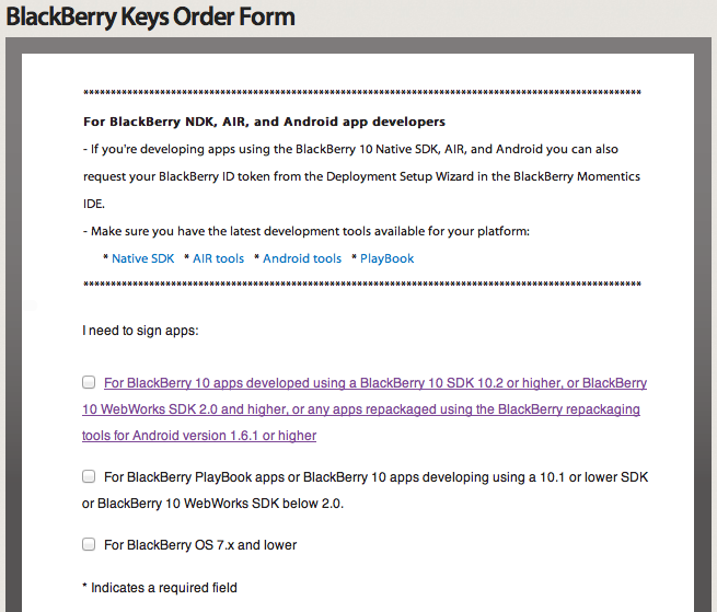 BlackBerry Keys Order Form